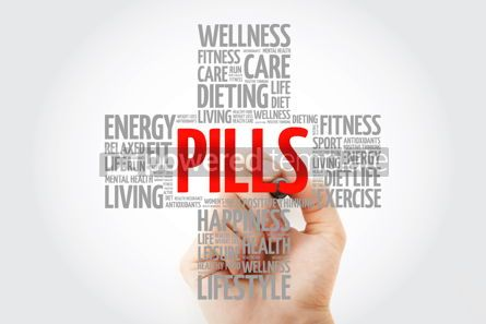 Education: PILLS word cloud with marker health cross concept background #10266