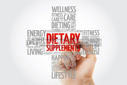 Education: Dietary Supplements word cloud with marker health cross concept #10267