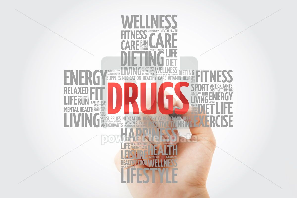 DRUGS word cloud with marker health cross concept background, 10268, Education — PoweredTemplate.com