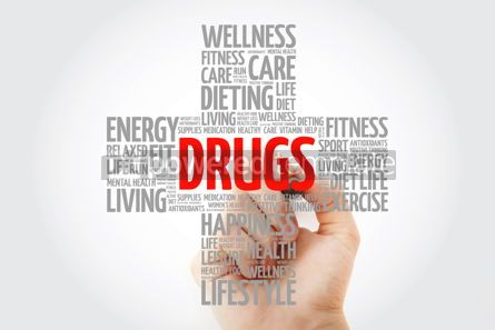 Education: DRUGS word cloud with marker health cross concept background #10268