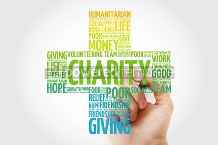 Business: Charity word cloud with marker cross concept background #10271