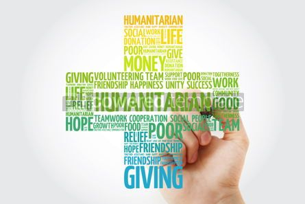 Business: Humanitarian word cloud cross with marker concept background #10274