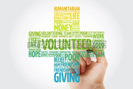 Business: Volunteer word cloud with marker cross concept background #10277