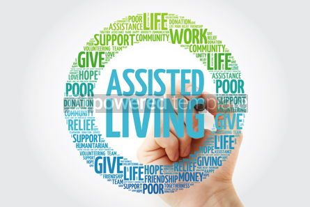 Business: Assisted Living word cloud with marker social concept backgroun #10285