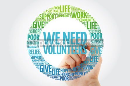 Business: WE NEED VOLUNTEERS word cloud collage with marker social concep #10288