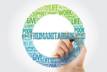 Business: Humanitarian word cloud collage with marker social concept back #10289