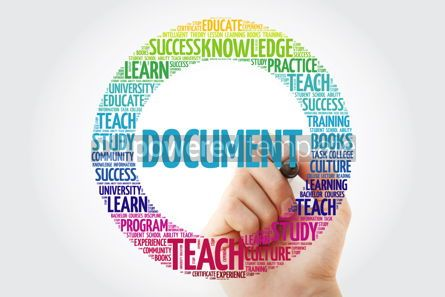 Business: DOCUMENT word cloud collage with marker education concept backg #10302