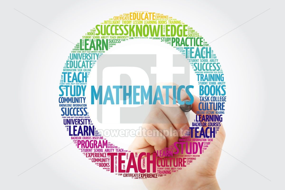 Mathematics word cloud with marker, 10303, Business — PoweredTemplate.com