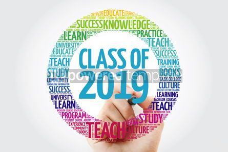Business: CLASS OF 2019 word cloud with marker education concept backgrou #10313