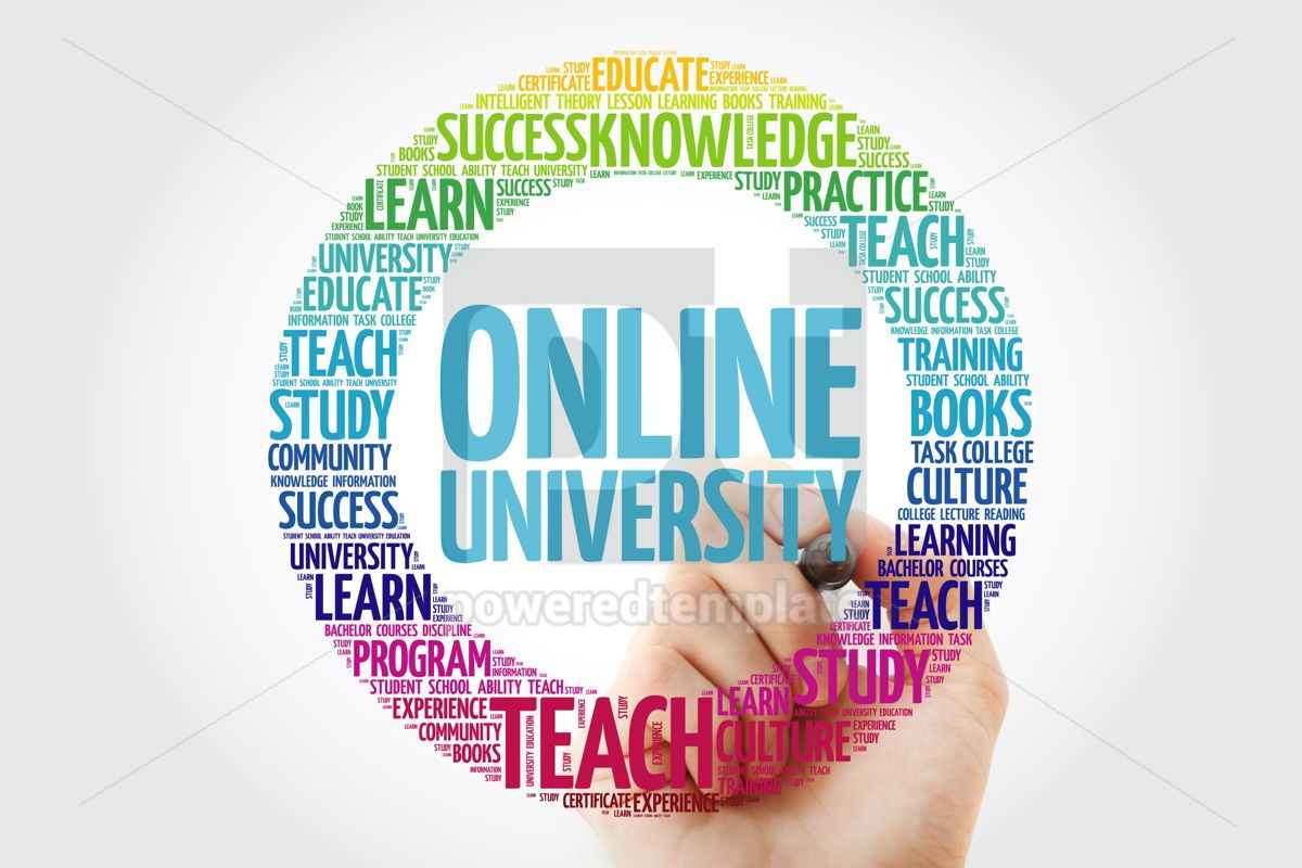 Online University word cloud collage with marker education conc, 10320, Business — PoweredTemplate.com