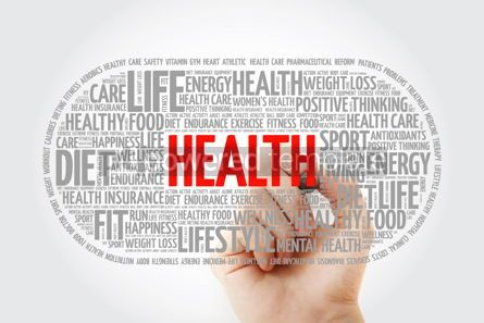 Education: Health word cloud with marker fitness health concept backgroun #10330