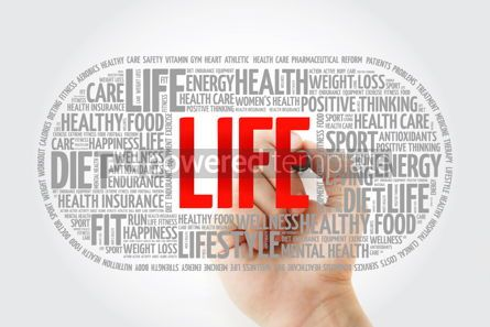 Education: LIFE pill word cloud with marker fitness health concept #10336