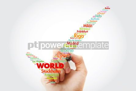 Business: WORLD check mark word cloud concept made with words cities names #10358