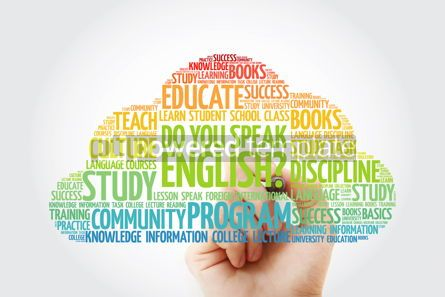 Education: Do You Speak English? word cloud with marker education business #10360