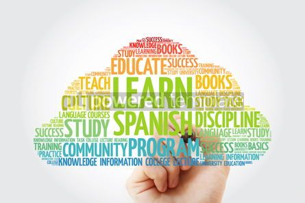 Education: Learn Spanish word cloud with marker education business concept #10362