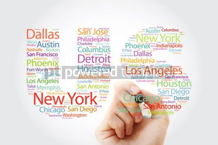 Education: US letters with cities names word cloud concept with marker #10365
