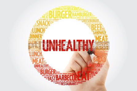 Food & Drink: UNHEALTHY word cloud with marker fast food concept background #10370