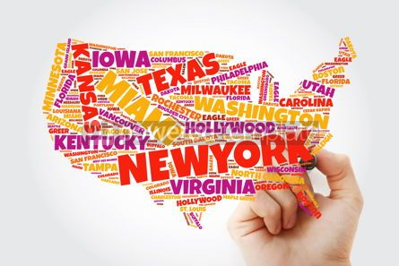 Business: USA Map word cloud collage with most important cities concept w #10372