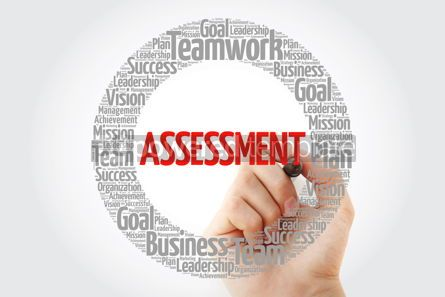 Business: ASSESSMENT word cloud with marker business concept background #10389