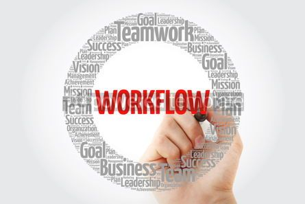 Business: WORKFLOW word cloud with marker business concept background #10390