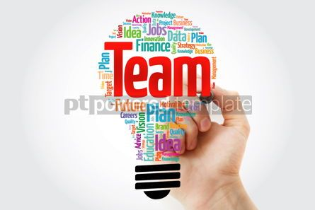 Business: TEAM bulb word cloud with marker business concept #10392