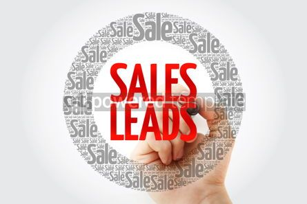 Business: Sales Leads words cloud with marker business concept background #10426