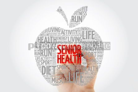 Health: Senior health apple word cloud with marker health concept #10437