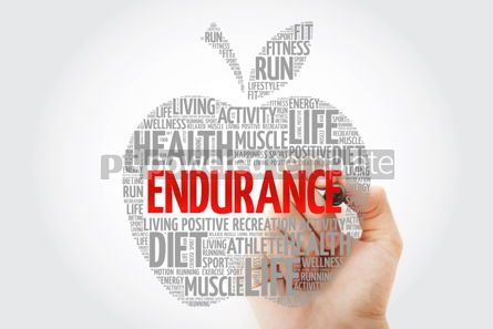 Health: ENDURANCE apple word cloud with marker health concept #10447