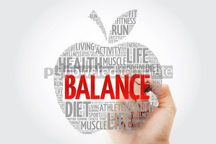 Health: BALANCE apple word cloud with marker health concept #10448