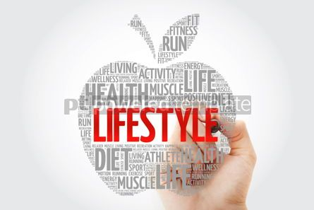 Health: LIFESTYLE apple word cloud with marker health concept #10449