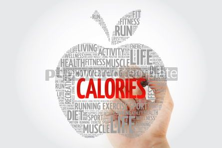 Health: CALORIES apple word cloud with marker health concept #10455