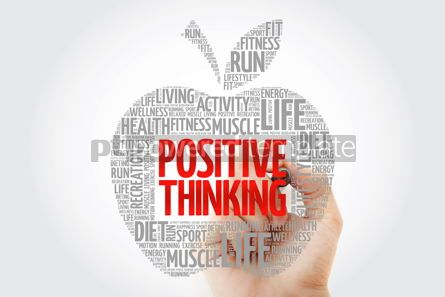 Health: Positive thinking apple word cloud with marker health concept #10457