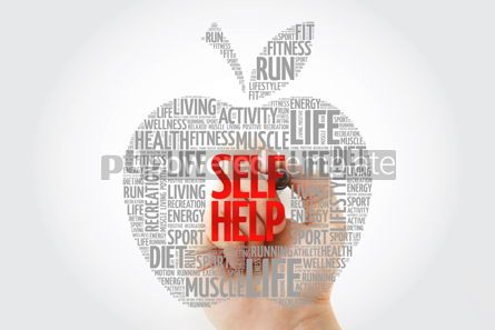 Health: Self Help apple word cloud with marker health concept #10458