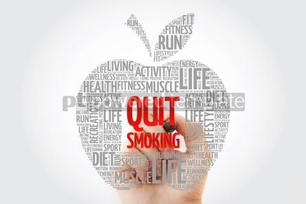 Health: Quit Smoking apple word cloud with marker health concept #10460