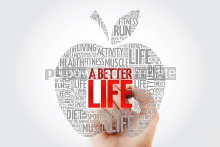 Health: A Better Life apple word cloud with marker health concept #10462