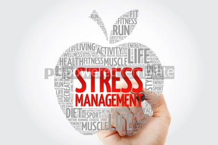 Health: Stress Management apple word cloud with marker health concept b #10465