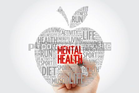 Health: Mental health apple word cloud with marker health concept #10466