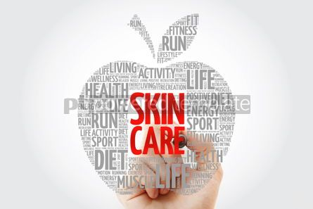Health: Skin care apple word cloud with marker health concept backgroun #10469
