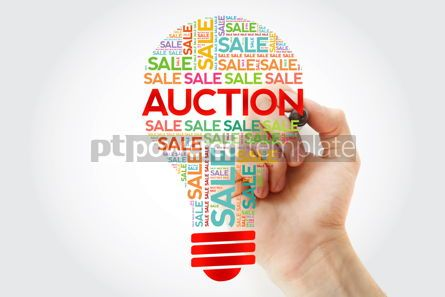 Business: AUCTION bulb word cloud with marker business concept background #10491