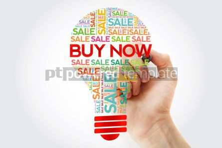 Business: BUY NOW bulb word cloud collage with marker business concept ba #10497