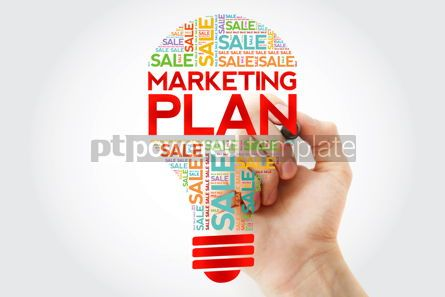 Business: Marketing Plan SALE bulb word cloud with marker business concep #10500