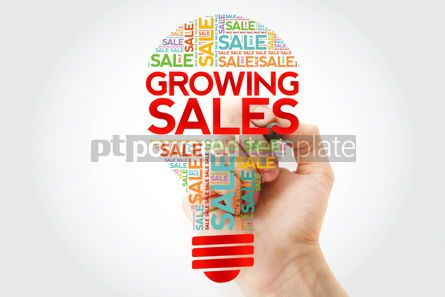 Business: Growing Sales bulb word cloud with marker business concept back #10502