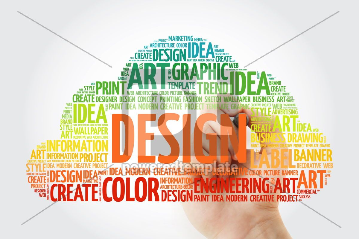 DESIGN word cloud with marker creative business concept, 10509, Business — PoweredTemplate.com