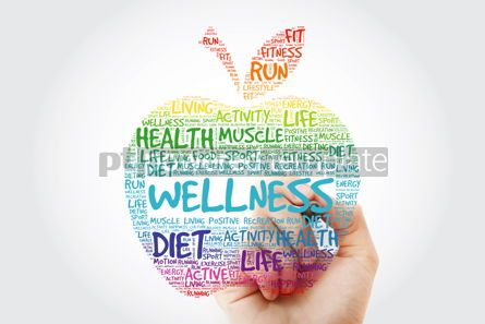 Health: Wellness apple word cloud with marker health concept background #10514