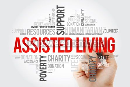 Business: Assisted Living word cloud with marker social concept backgroun #10520
