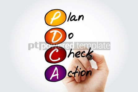 Business: Hand writing PDCA - Plan Do Check Action with marker acronym co #10548