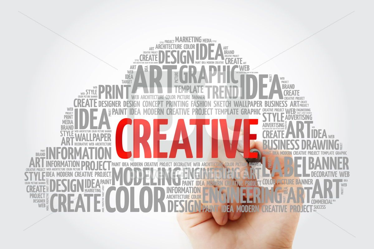 CREATIVE word cloud with marker creative business concept backg, 10578, Business — PoweredTemplate.com
