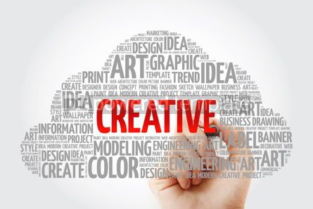 Business: CREATIVE word cloud with marker creative business concept backg #10578