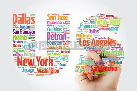 Business: US letters with cities names word cloud concept background with #10584