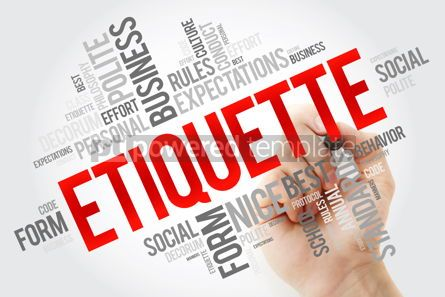 Education: Etiquette word cloud collage with marker social business concep #10661